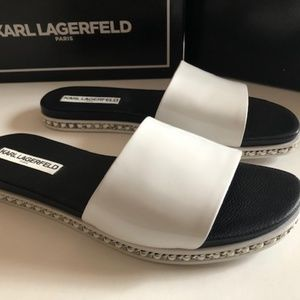 Karl Lagerfeld Paris white leather slide. Size 9